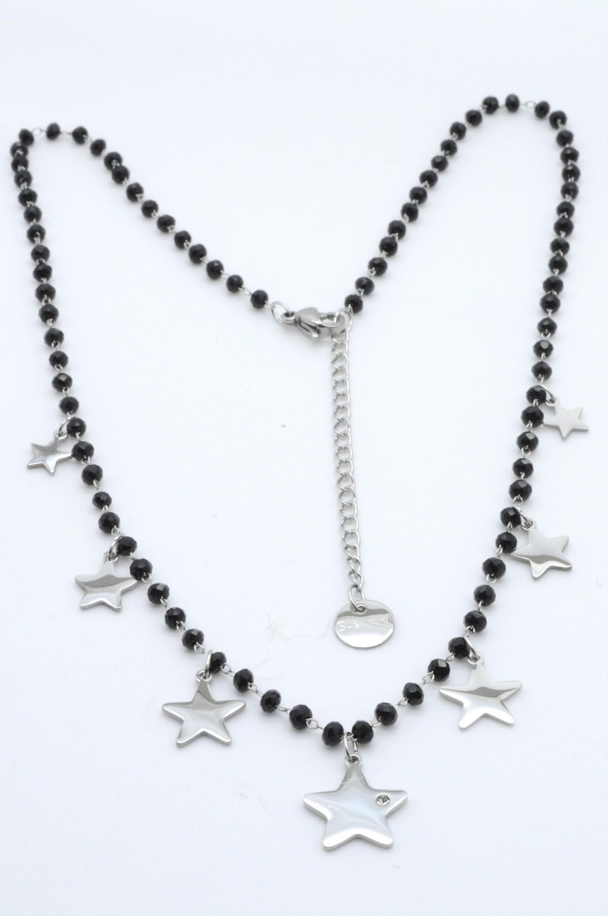 design senza tempo 68fc3 f095a C3 - Collana in acciaio cristalli neri con stelle
